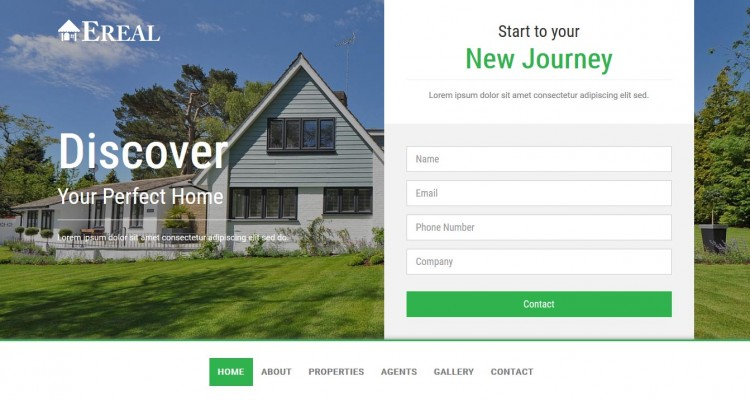 EREAL - Real Estate Property Landing Page Template