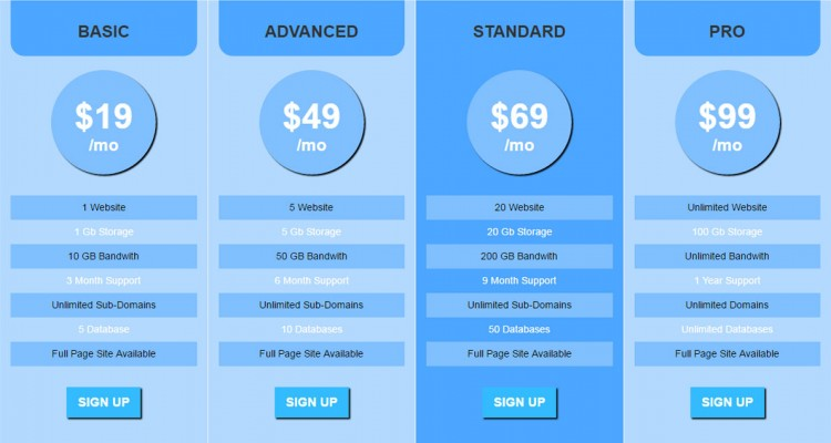 Prix Responsive Pricing Table with Signup Form - Free Download