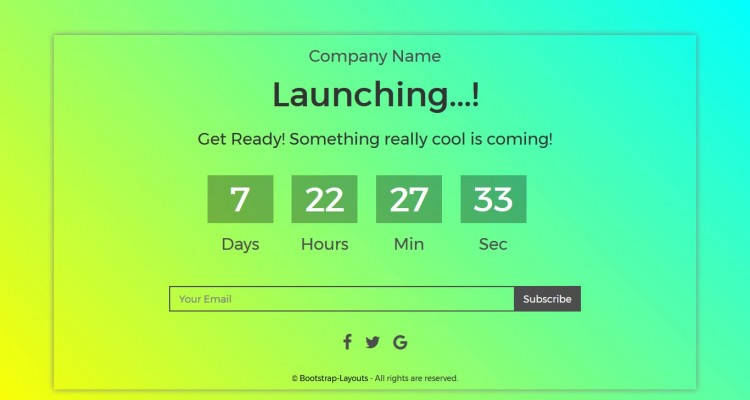 Counter - Coming Soon Responsive Page