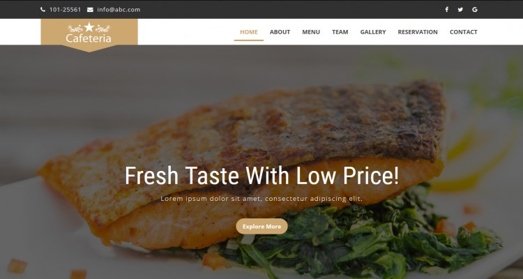 Cafeteria - Fully Responsive HTML Template