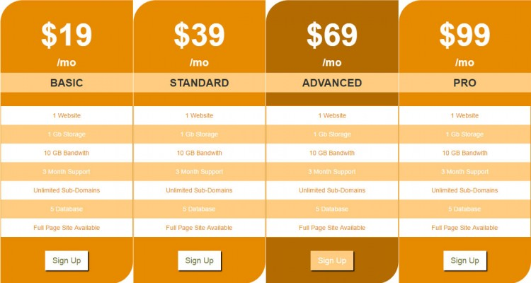 Precio Responsive Pricing Table - Free Download